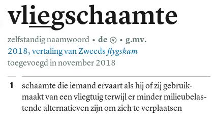 vliegschaamte, woord in 2018 toegevoegd aan Van Dale